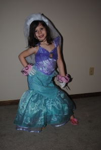 Playing dress up ~ this is Ariel at her marriage to Prince Eric