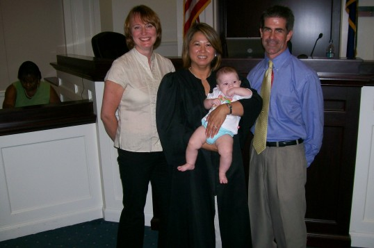 8/2008 ~ the day finalizing our adoption.  We actually had the same judge for both our adoptions.
