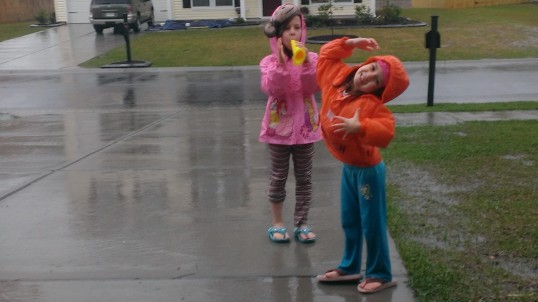 sisters in the rain
