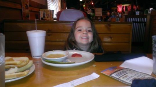 Skye at dinner with daddy