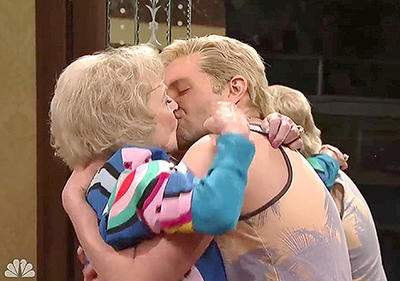Bradley Cooper and Betty White reminisce at the end of a skit. It went viral I understand.