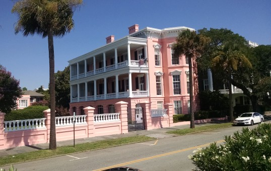A pink flamingo colored property, reminiscent of the plantation owners in the Caribbean