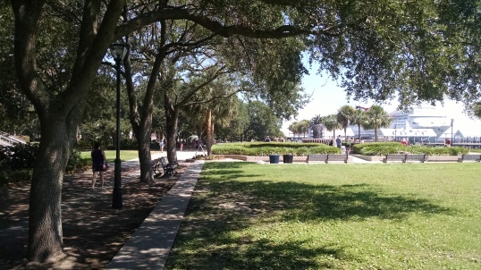 a few water fountains at the Waterfront Park