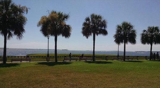 Castle Pinkney (left foreground housed Union prisoners) and Fort Sumter (right on the horizon guarded the harbor by the Union) , start of America's Civil War