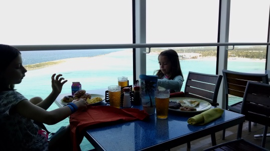 Breakfast as we dock at Castaway Cay